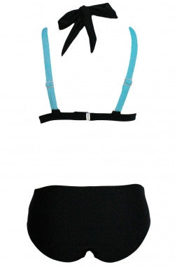 Color Block 2 Piece Halter Swimsuit - IBL Fashion - 16