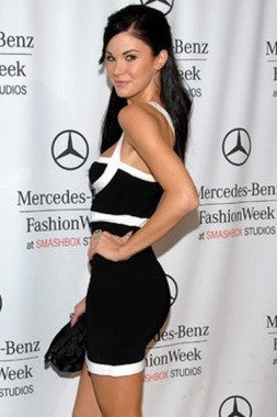 Celebrity Style Spaghetti Strap Mini Bandage Dress- Black/White - IBL Fashion - 3