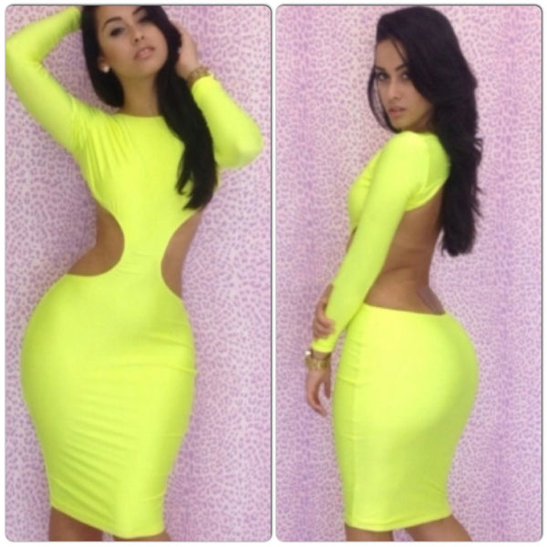 Ladies Neon Yellow Long Sleeve Cutout Bodycon Dress - IBL Fashion - 1