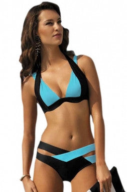 Color Block 2 Piece Halter Swimsuit - IBL Fashion - 4