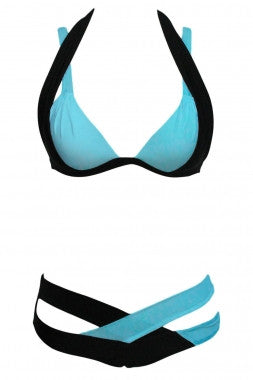Color Block 2 Piece Halter Swimsuit - IBL Fashion - 11