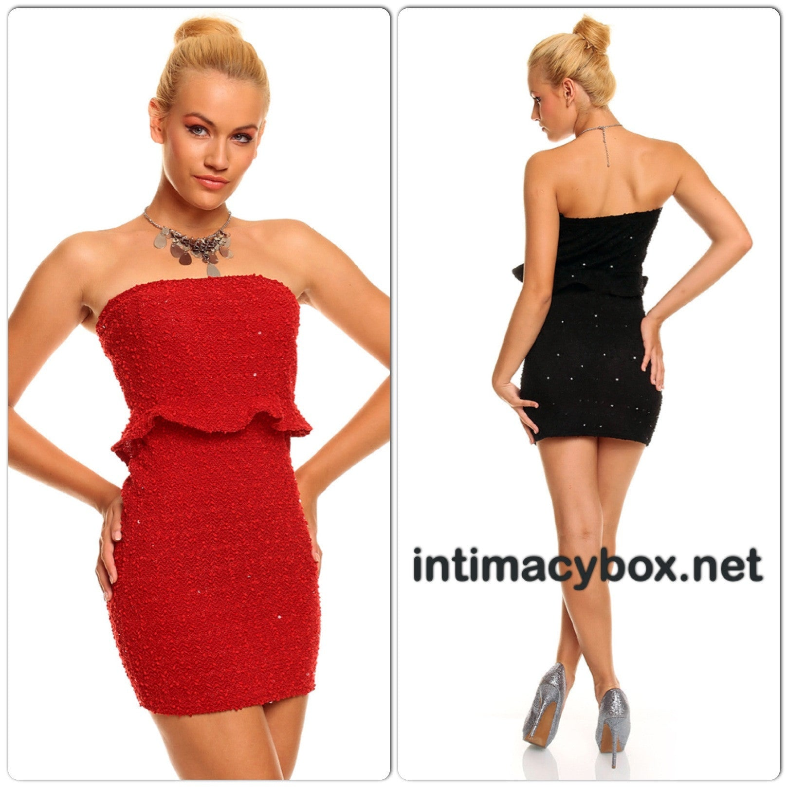 InStock Bandeau Dress with Glitter Sequins - IBL Fashion