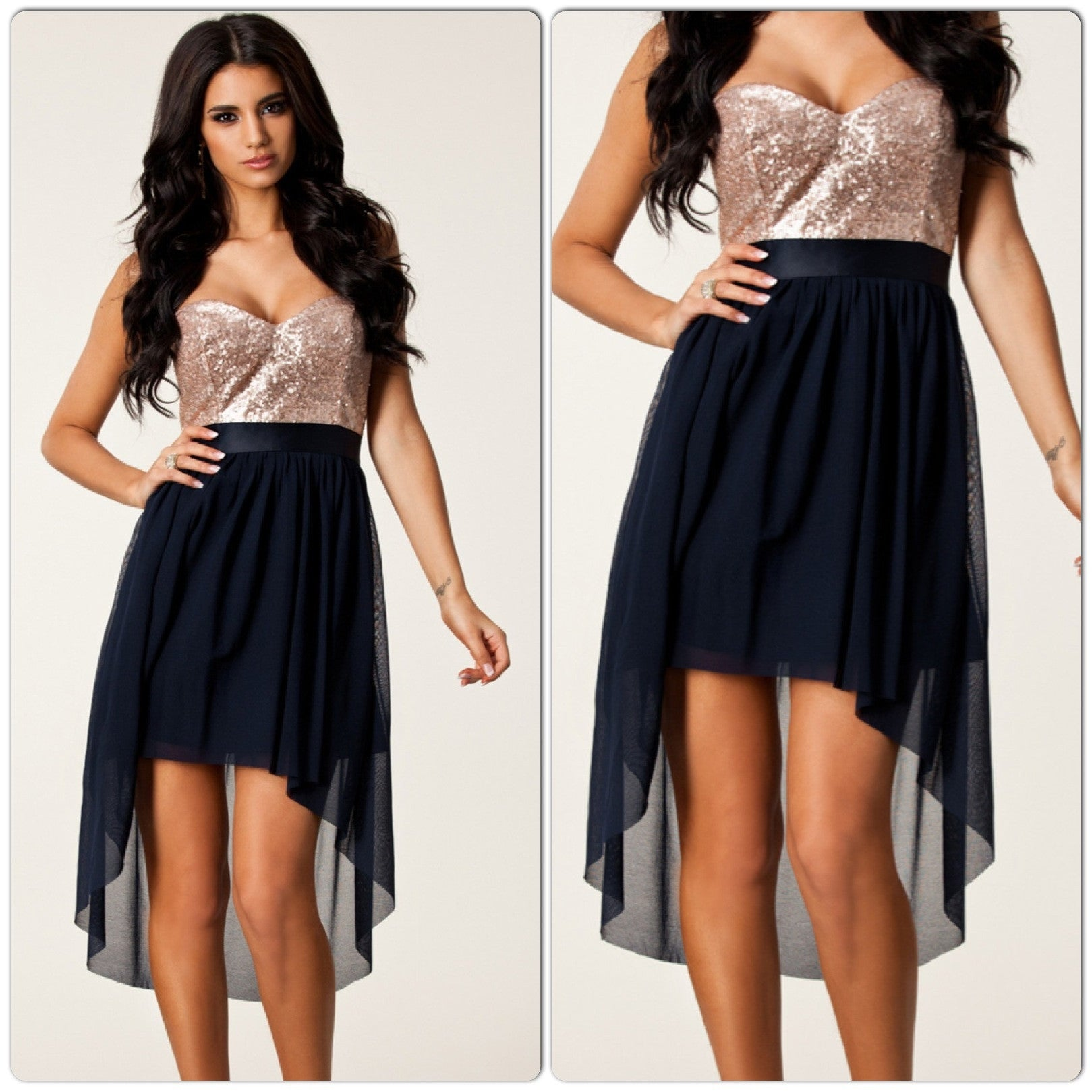 Navy Nude Sequin High Low Cocktail Dress 6254 - IBL Fashion - 1