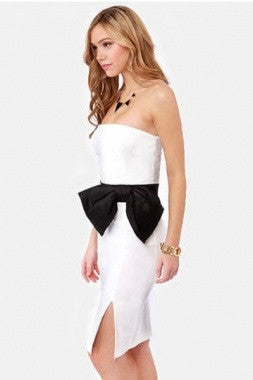 Stunning Strapless Side Bow  Dress- White - IBL Fashion - 3