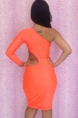 Tangerine One-shoulder Cutout Club Bodycon Dress - IBL Fashion - 2
