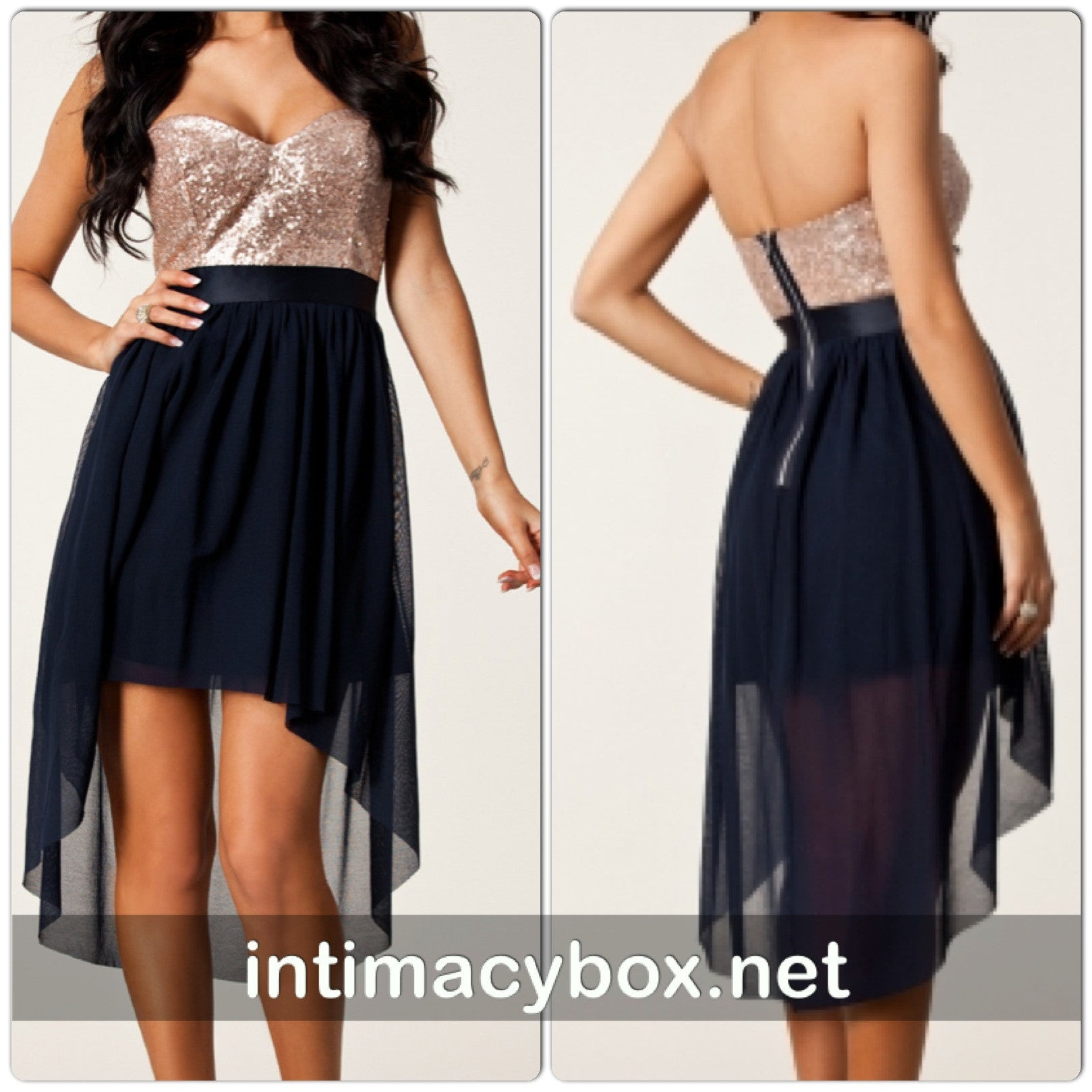 Navy Nude Sequin High Low Cocktail Dress 6254 - IBL Fashion - 4