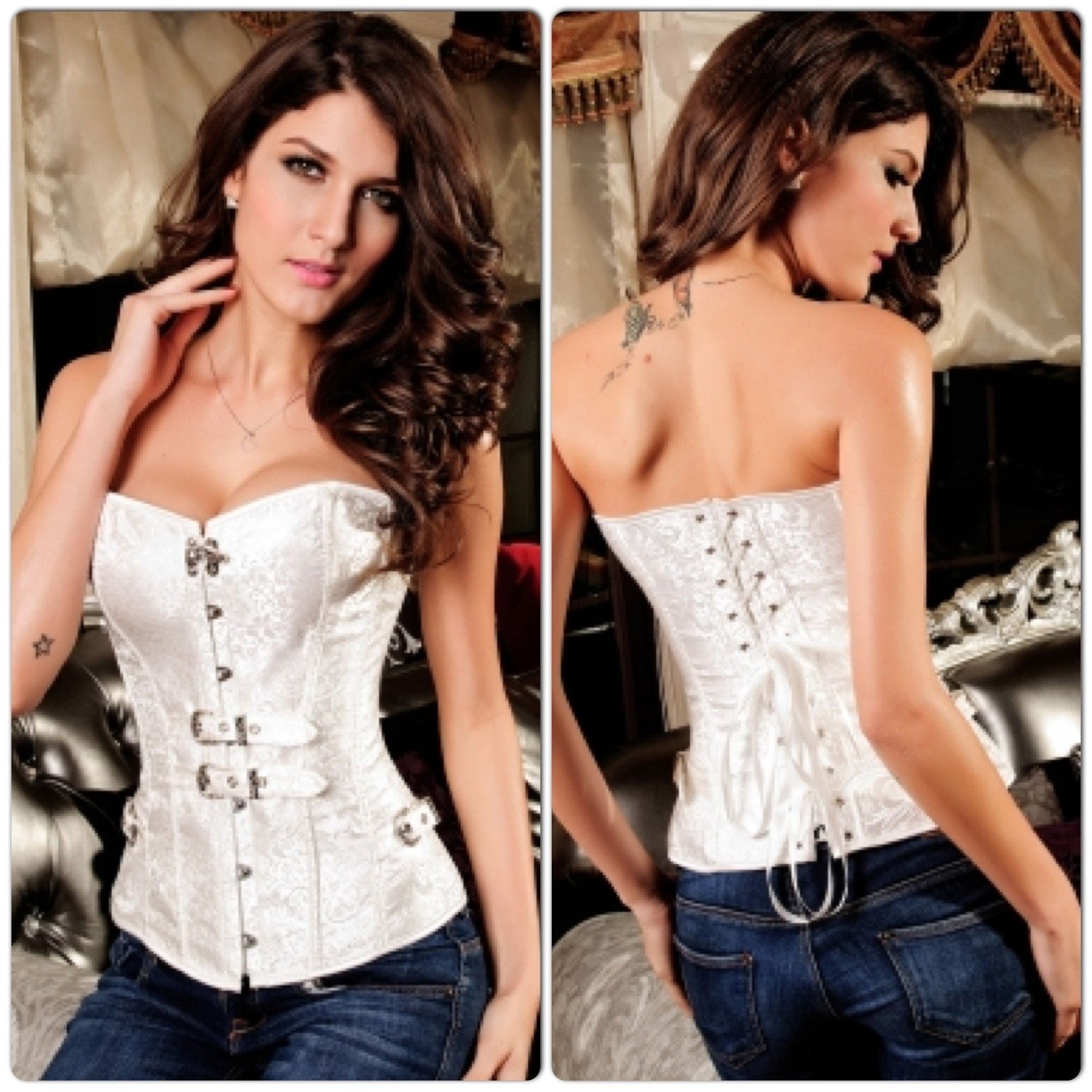 White Luxurious Jacquard Corset with Buckles - IBL Fashion - 1