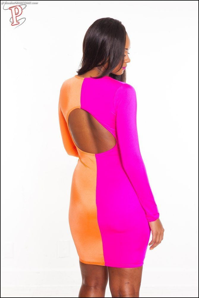 Orange Pink Vee Open Front Color Block Patchwork Bodycon Dress - IBL Fashion - 2