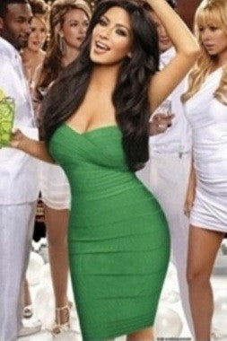 Celebrity Style Bandeau Bandage Dress-Green - IBL Fashion - 4