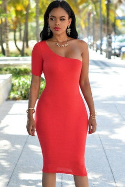 One Shoulder Short Sleeve Bodycon Dress - IBL Fashion - 6