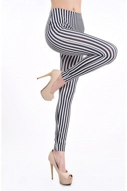 Black and White Thin Stripe Leggings - IBL Fashion - 1