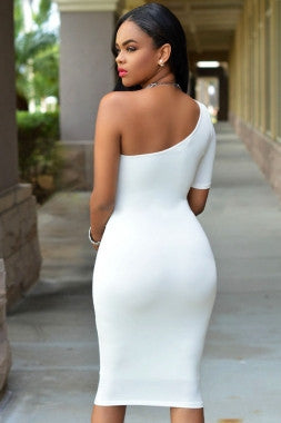 One Shoulder Short Sleeve Bodycon Dress - IBL Fashion - 5