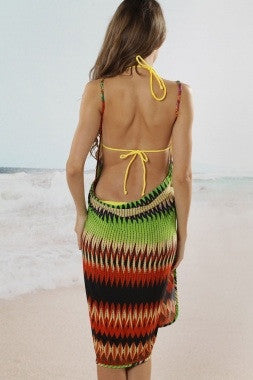 Aztec Beach Cover Up Green/Black - IBL Fashion - 4