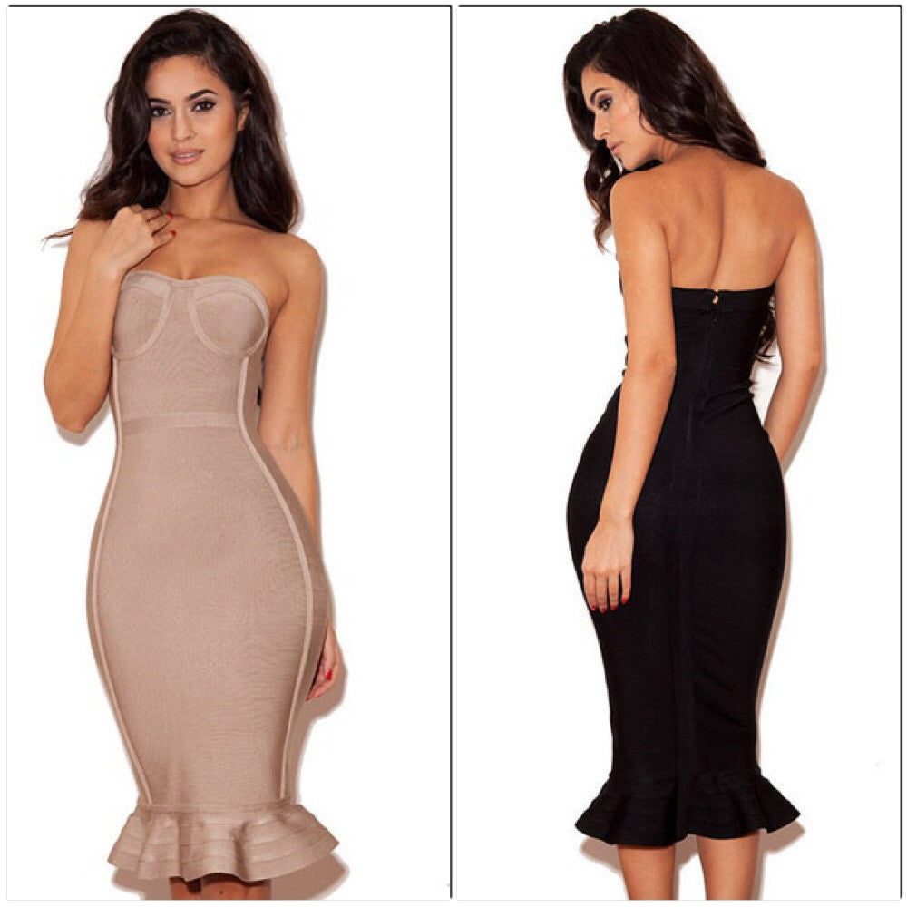 Celebrity Style Black Strapless Fishtail Bandage Dresses - IBL Fashion - 2