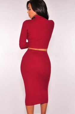 Red Ribbed Knit Turtleneck Two Pieces Dress LC27615 - IBL Fashion - 5