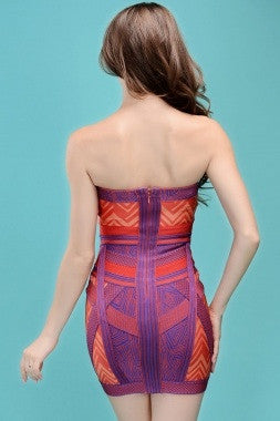 Celebrity Style Exotic Patterned Strapless Bandage Dress - IBL Fashion - 3