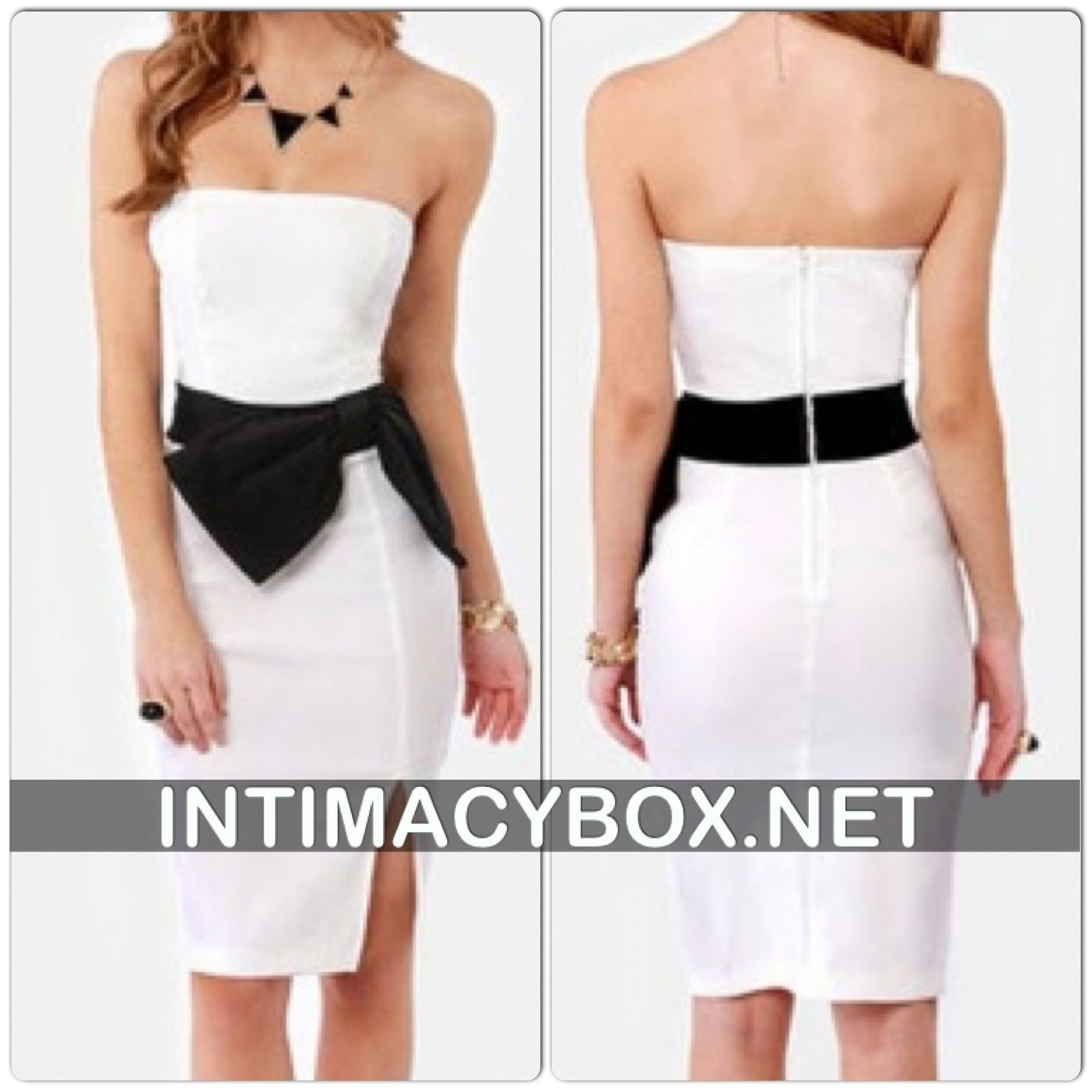 Stunning Strapless Side Bow  Dress- White - IBL Fashion - 1