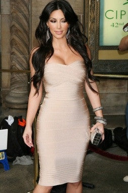 Celebrity Style Strapless Bandage Dresses - Beige - IBL Fashion - 2