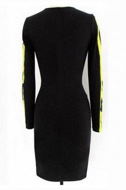 Beyonce Hot Leaf Print Colorblock Bodycon Dress 6229 - IBL Fashion - 2