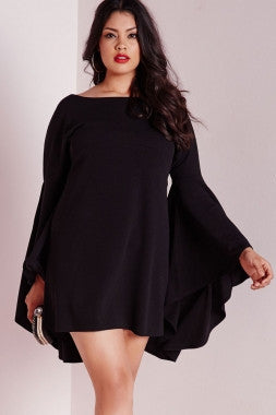 Plus Size Diva Black Flared Sleeve Swing Dress - IBL Fashion - 1