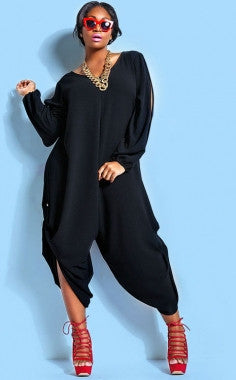 Plus Size Diva Stylish V-Neck Long Sleeve Jumpsuit 60601 - IBL Fashion - 1