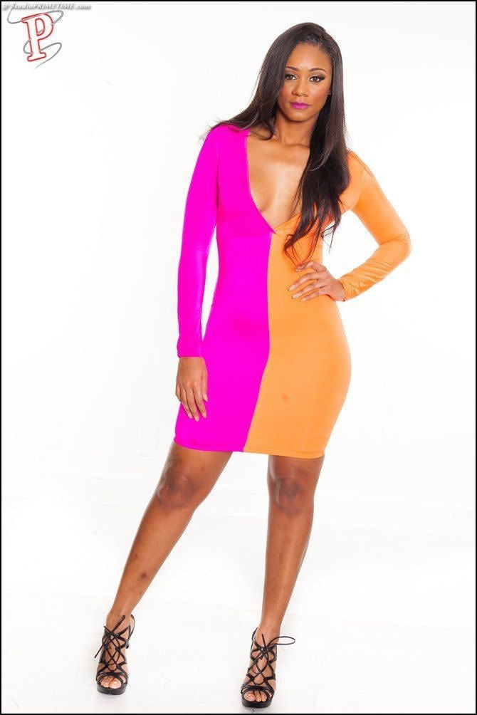 Orange Pink Vee Open Front Color Block Patchwork Bodycon Dress - IBL Fashion - 5