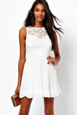 White Lace Skater Dress with Pleats - IBL Fashion - 4