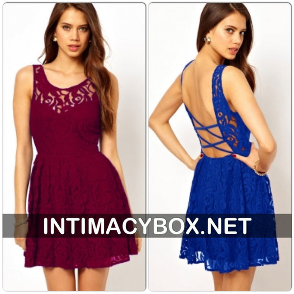 Lace Skater Dress  with Open Back - IBL Fashion - 1