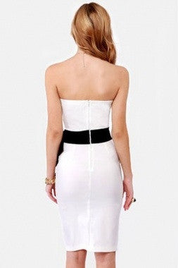 Stunning Strapless Side Bow  Dress- White - IBL Fashion - 4