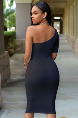 One Shoulder Short Sleeve Bodycon Dress - IBL Fashion - 4