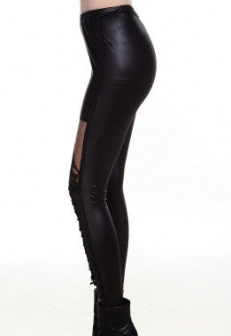 Black Lace-up Faux Leather Leggings - IBL Fashion - 2