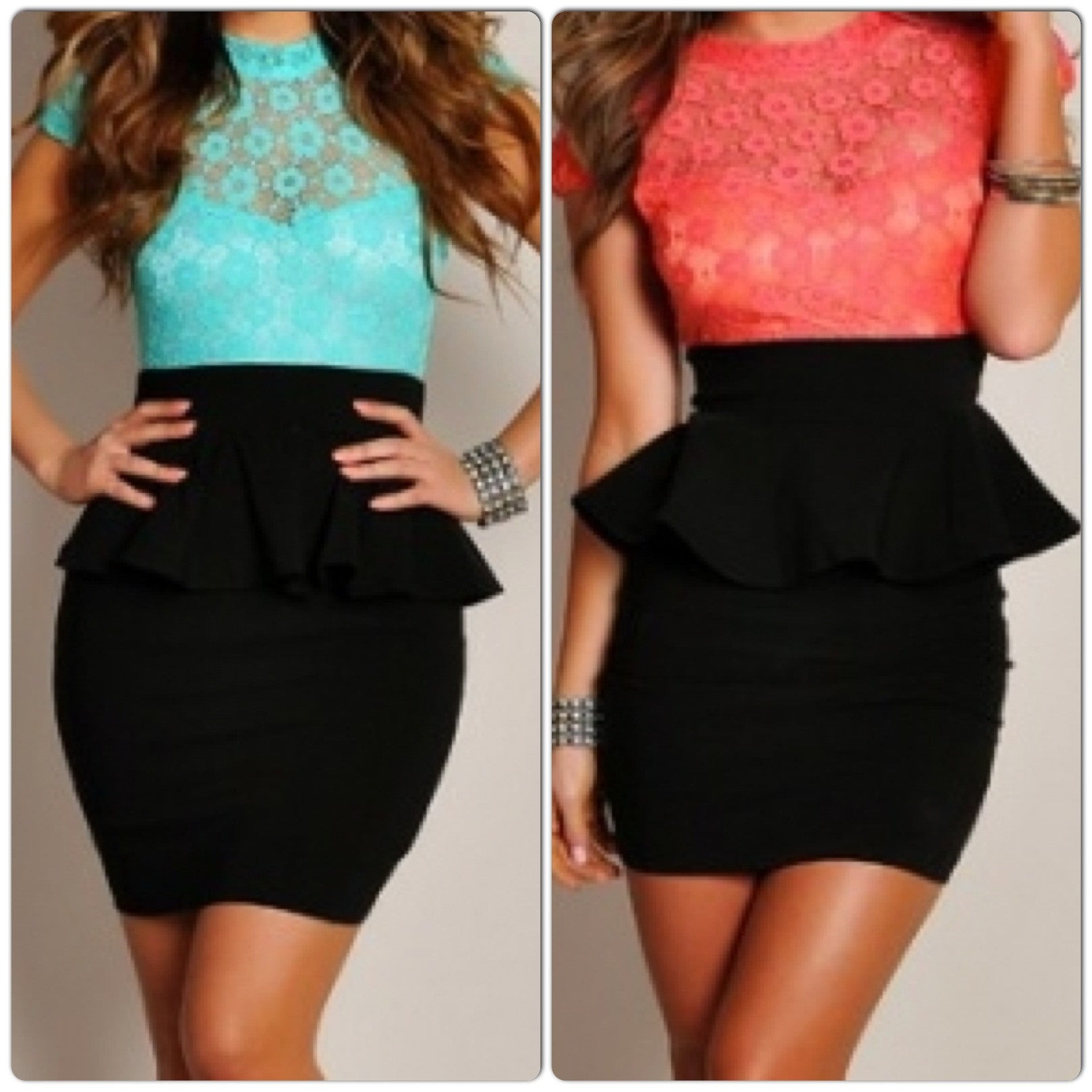 Pastel and Black  Lace Floral Peplum Dress - IBL Fashion - 1