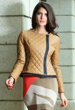 Camel Collarless Quilted Jacket - IBL Fashion - 4