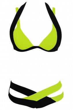 Color Block 2 Piece Halter Swimsuit - IBL Fashion - 9
