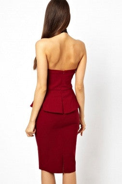 Red High Neck  Peplum Pencil Dress - IBL Fashion - 3