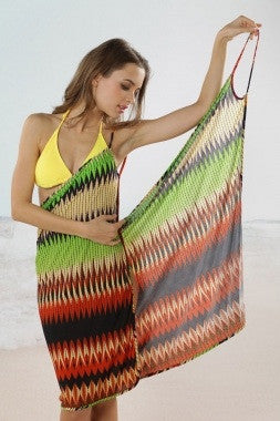 Aztec Beach Cover Up Green/Black - IBL Fashion - 1
