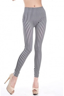 Black and White Thin Stripe Leggings - IBL Fashion - 3