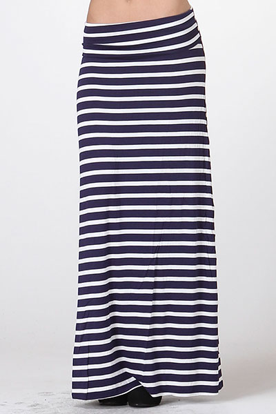 Black and White Striped Maxi Skirt - IBL Fashion