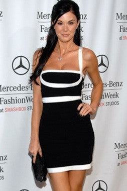 Celebrity Style Spaghetti Strap Mini Bandage Dress- Black/White - IBL Fashion - 2