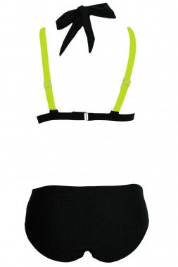 Color Block 2 Piece Halter Swimsuit - IBL Fashion - 14