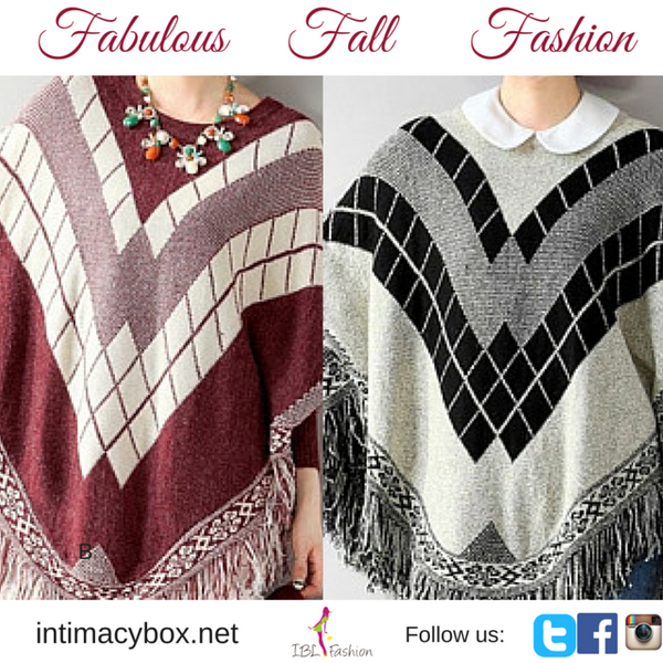 Fringe Batwing Patterned Poncho Pullover - IBL Fashion - 1