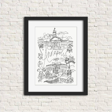 Annapolis Black and White Digital Download Art Print