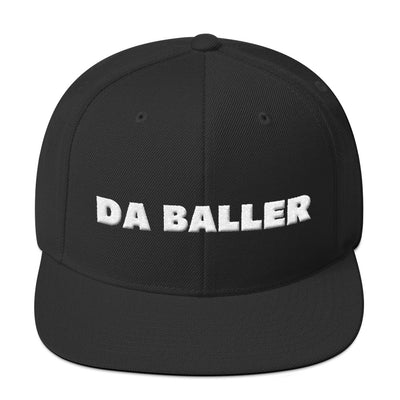 DA BALLER - 3d Embroidery Snapback Hat - Black/Blue/Red