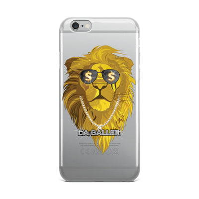 Bling Bling Baller Lion With Diamond & Gold iPhone Case - Clear