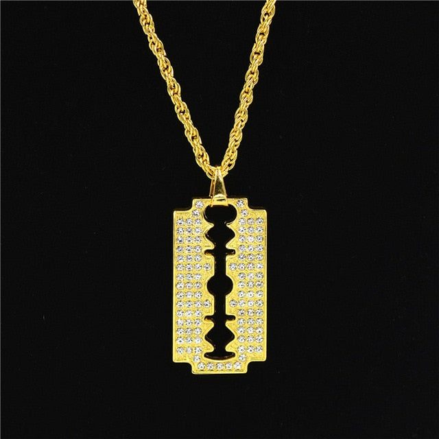 Razor Blade Pendant Alloy Gold Color Iced Out Rhinestones With 70cm Chain Necklace For Men