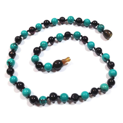 Amber-Gemstone Dark Cherry & Turquoise - 12 Necklace - Pop Clasp - Baltic Amber & Gemstone Jewelry