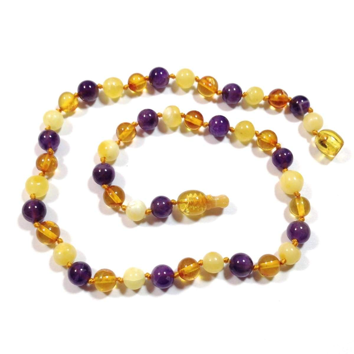 Amber-Gemstone Honey Butter & Amethyst - 12 Necklace - Pop Clasp - Baltic Amber & Gemstone Jewelry