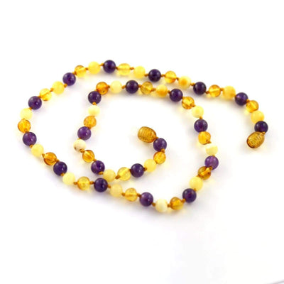 Amber-Gemstone Honey Butter & Amethyst - 16 Necklace - Baltic Amber & Gemstone Jewelry