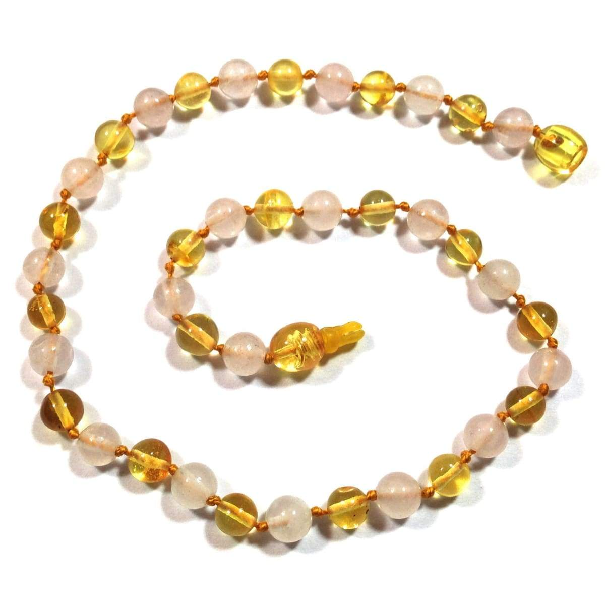 Amber-Gemstone Lemon & Rose Quartz - 12 Necklace - Pop Clasp - Baltic Amber & Gemstone Jewelry