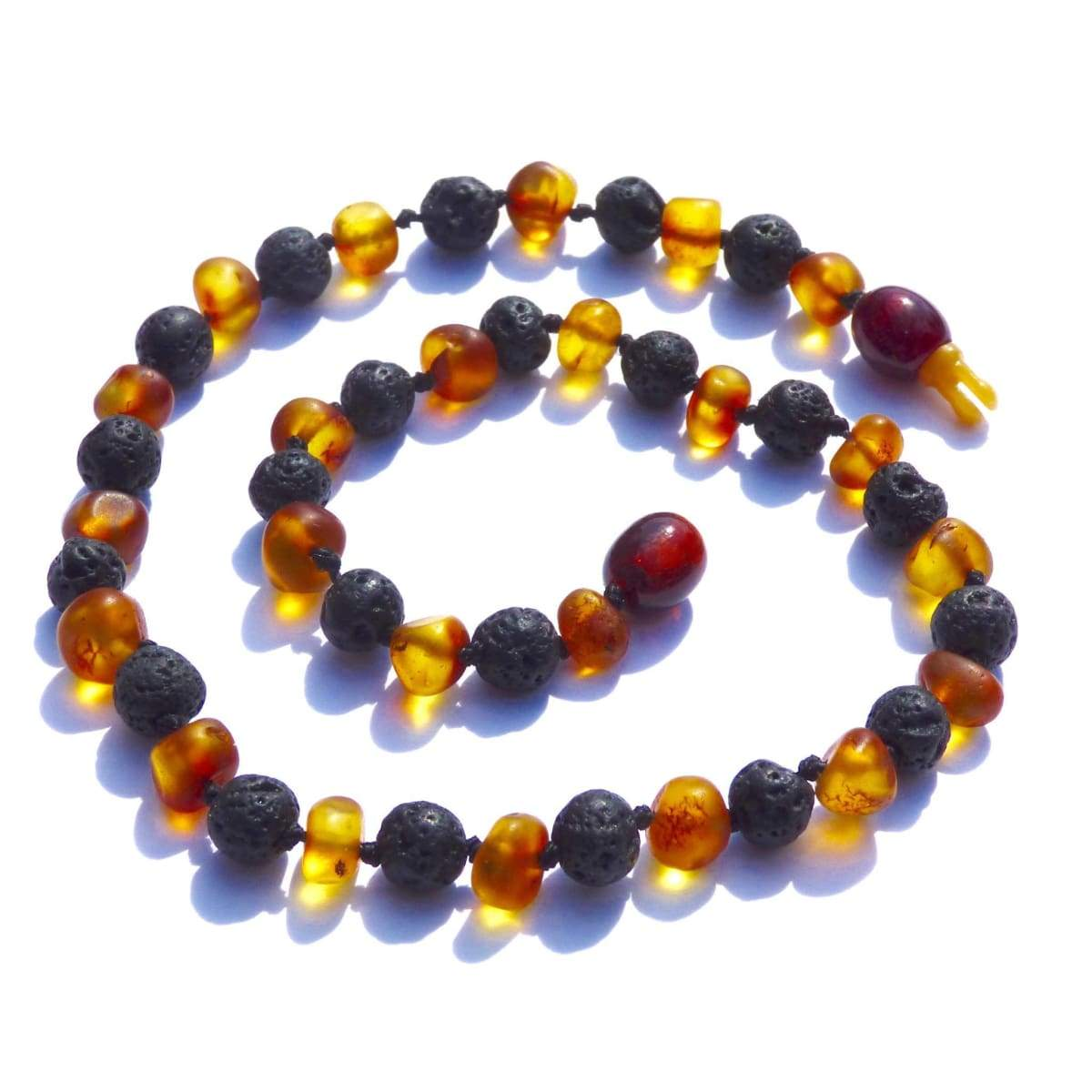 Amber-Gemstone Nutmeg & Lava Stone - 14 Necklace - Pop Clasp - Baltic Amber & Gemstone Jewelry